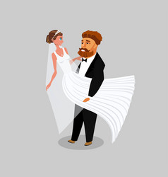 newlyweds just married color vector image