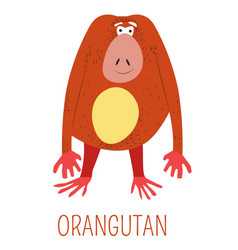 orangutan ginger monkey childish book character vector image