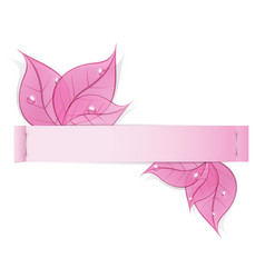 paper strip with pink leaves and drops of dew on a vector image