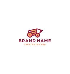 pencil car tank creative logo template icon vector image