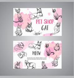 Pet shop business card with cats cat meow text vector