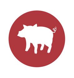 Pig round icon vector