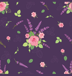 Pink purple roses ditsy seamless pattern vector
