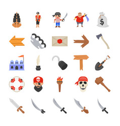 Pirate costumes flat icons vector