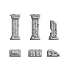 pixel art 8 bit gray ancient vector image