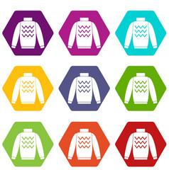 pullover icon set color hexahedron vector image