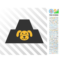 Puppy citadel flat icon with bonus vector
