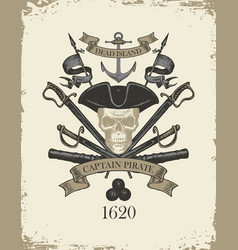 retro banner with pirate skull sabers and cannons vector image