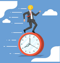 Running businessman with head clock coin vector