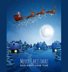 santa claus on deer flying sleigh with reindeers vector image
