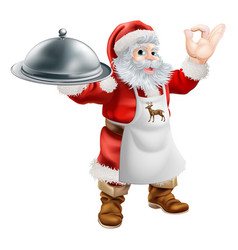 Santa cook christmas dinner concept vector