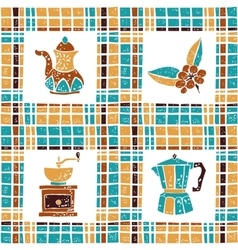 Seamless pattern coffee things and plaid vector