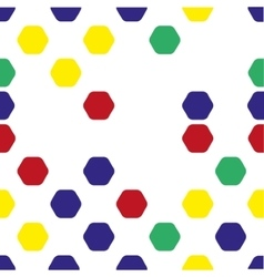 Seamless pattern of colored hexagons on a white vector