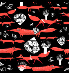 seamless pattern with red foxes vector image