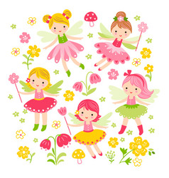 seamless with fairies and vector image