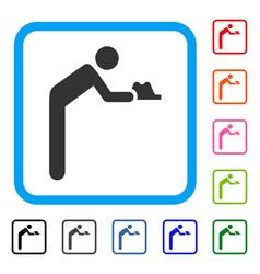 Servant person framed icon vector