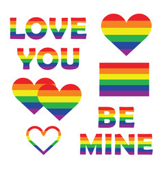 set collection of gay pride elements with rainbow vector image