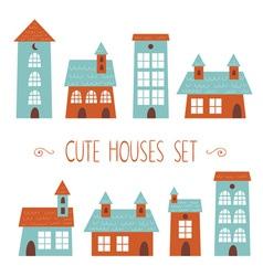 Set cute houses hand drawn cartoon kids style vector
