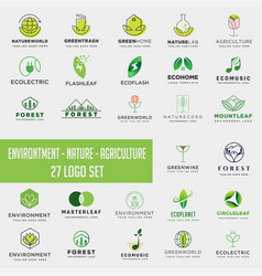 Set environment agriculture logo icon element vector