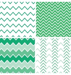 Set four emerald green chevron patterns and vector