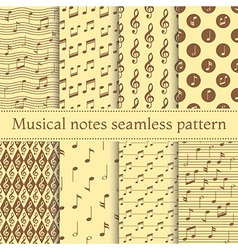 set musical notes seamless pattern vector image