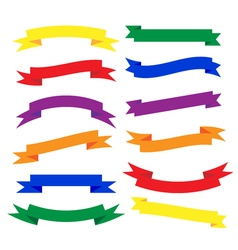 Set of beautiful festive colored ribbons vector image