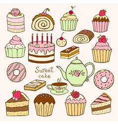 Set of hand drawn sweet cupcakes vector image