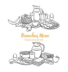sketch breakfast layout vector image
