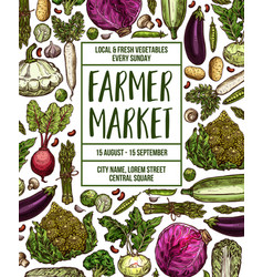 Sketch poster for vegetables farm market vector