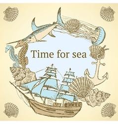 Sketch sea life in vintage style vector image