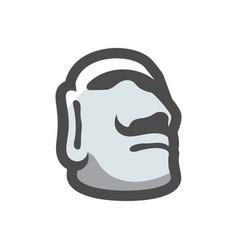 stone head easter island icon cartoon vector image
