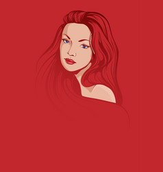stylish young woman portrait on red background vector image