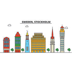 Sweden stockholm city skyline architecture vector