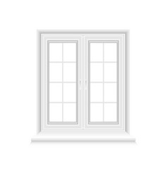 traditional white window frame on white background vector image