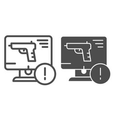 weapon on computer line and glyph icon computer vector image