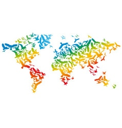 World map with flying birds vector image