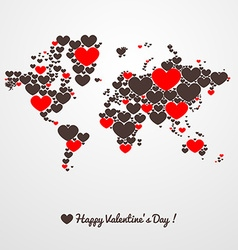 World map with hearts Valentines day vector image