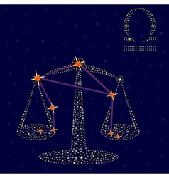 Zodiac sign Libra over starry sky vector image