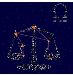 Zodiac sign Libra over starry sky vector
