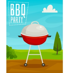 BBQ party poster with summer day landscape and vector image vector image