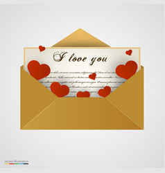envelop with letter and hearts vector image vector image