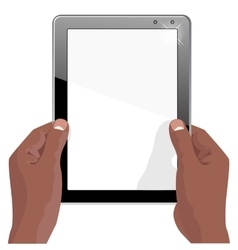 hands of african american holding a tablet vector image vector image