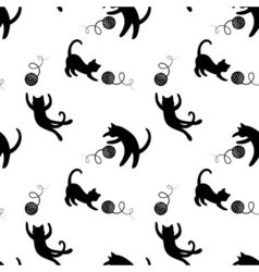 Monochrome seamless pattern with playing cats vector image vector image