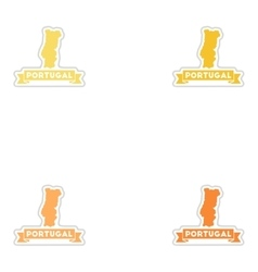 Set of paper stickers on white background Portugal vector image vector image