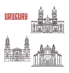 Uruguay architecture landmarks icons vector