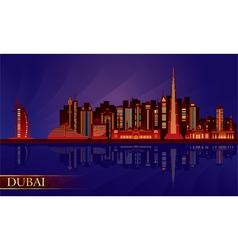 Dubai night city skyline silhouette vector image