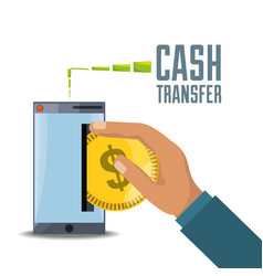 hand depositing coin on smartphone for online vector image