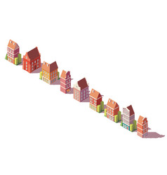 low poly isometric old buildings set vector image vector image