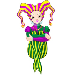 Mardi Gras harlequin lady vector image
