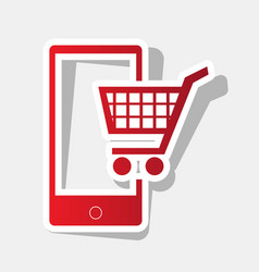 shopping on smart phone sign new year vector image